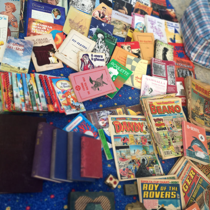 Collectible comics and books at the Birgu flea market