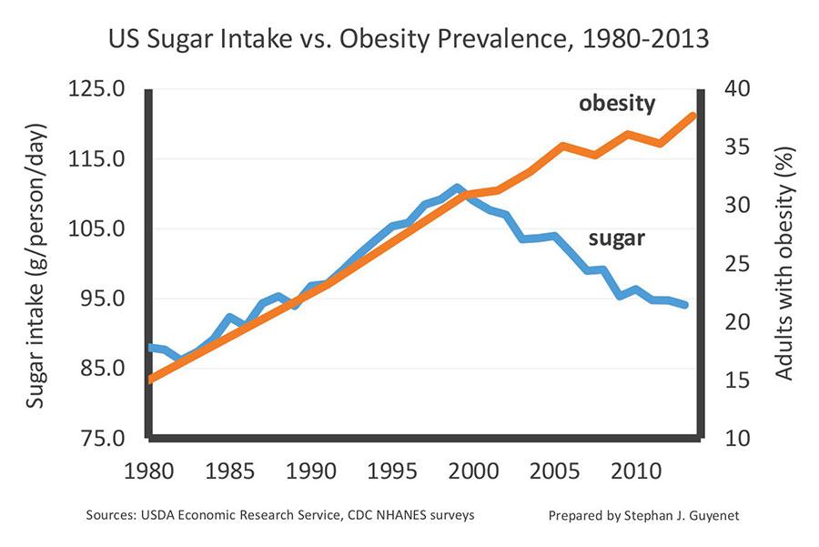 Množství zkonzumovaného cukru vs výskyt obezity v USA.