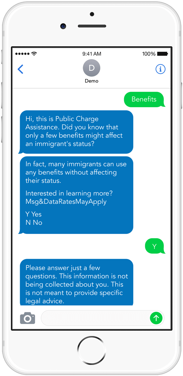 CommunityConnect Labs Public Charge mobile messaging campaign