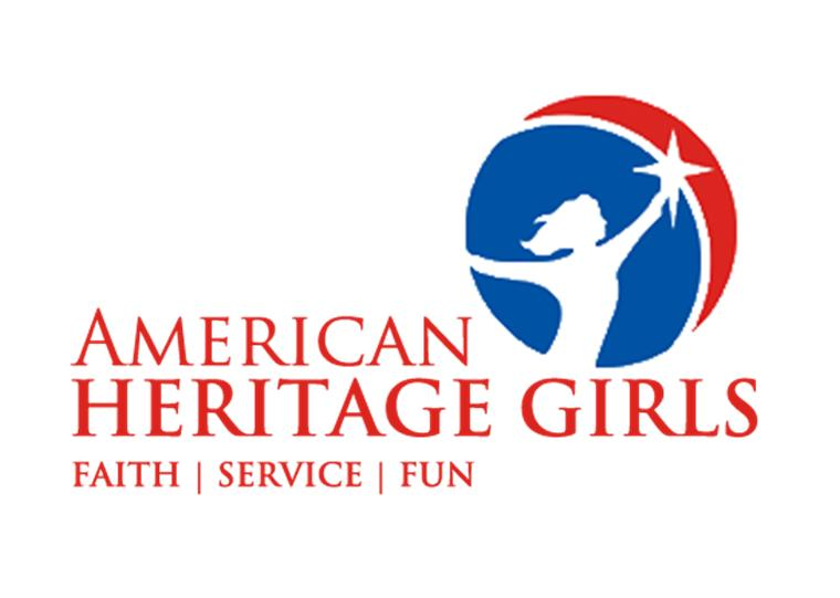 American Heritage Girls logo - faith, service, fun