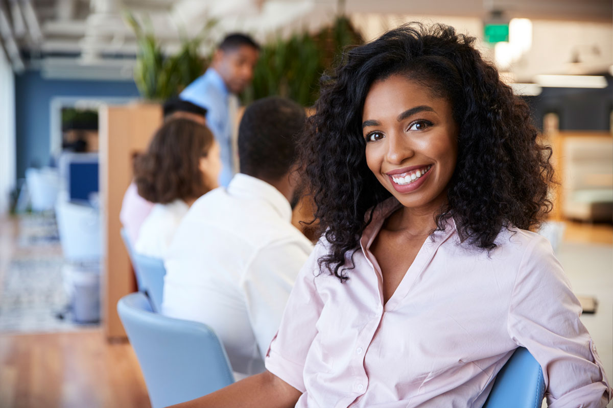 African American Woman in co-working Space