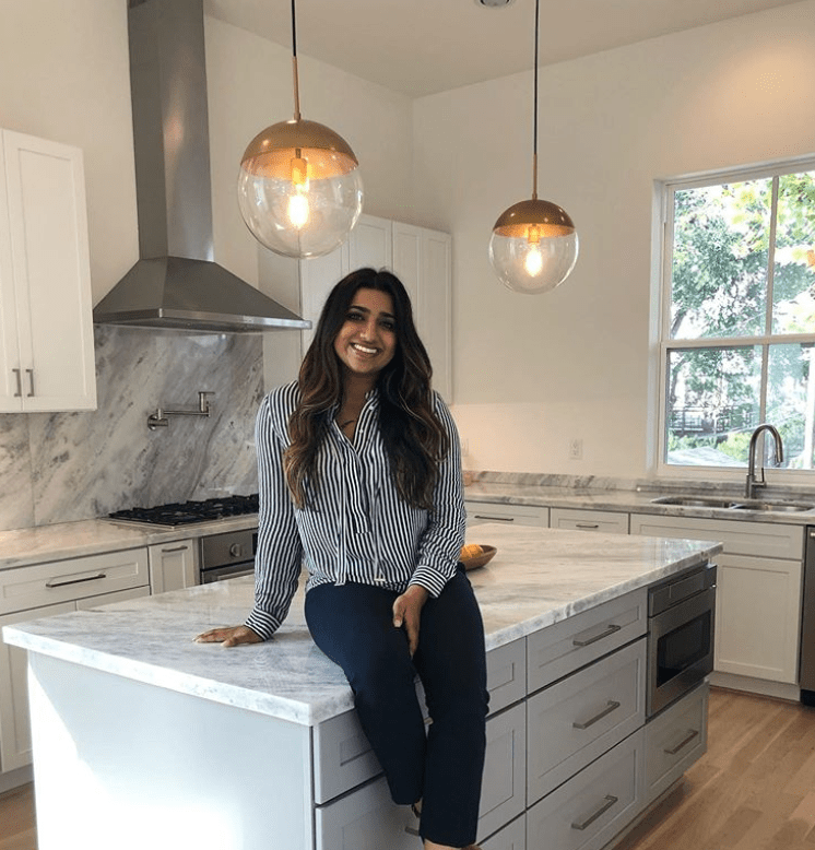 Realtor Soniya Raju in new home kitchen