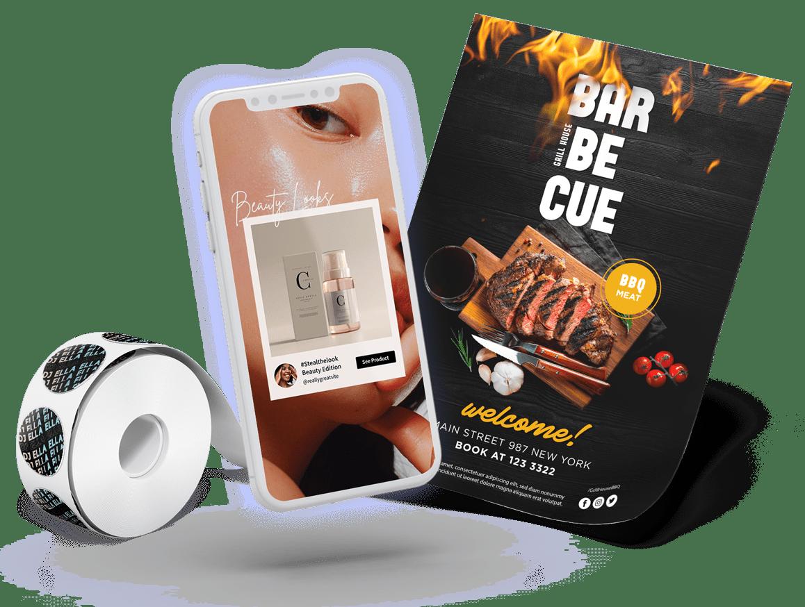 Custom flyer, sticker designs and social media content