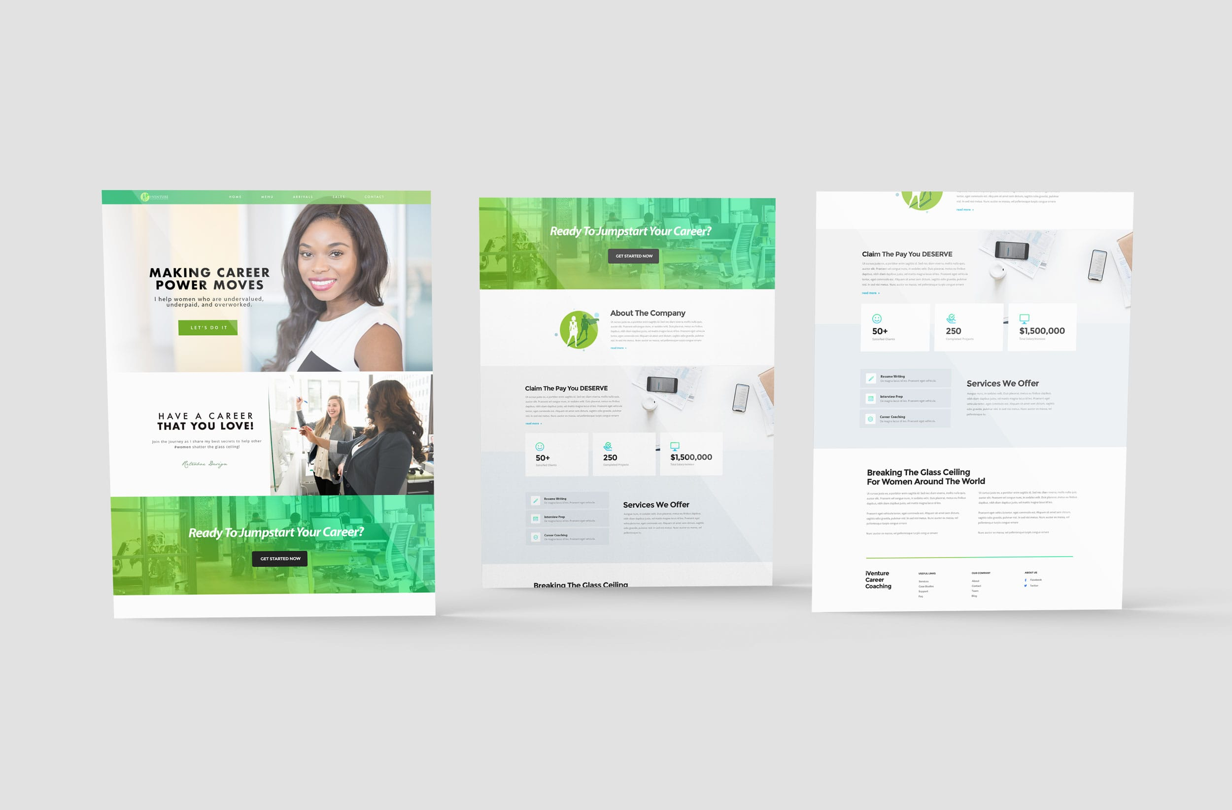 Pheelosophy - I-Venture Career Coaching Website Design Mockup