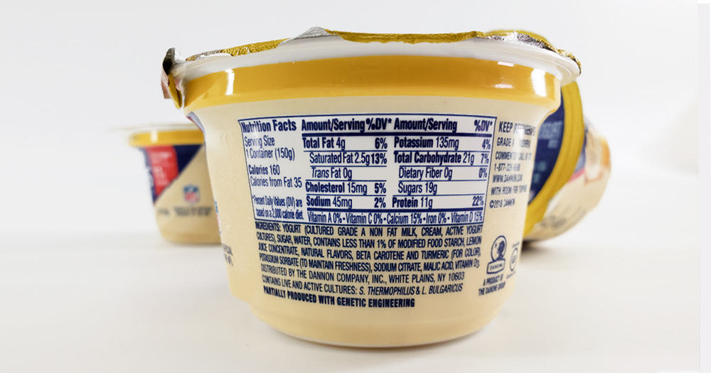 Oikos yogurt example of FDA requirement: nutrition facts