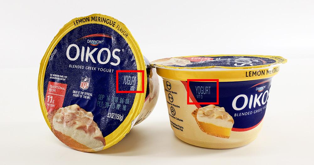 Oikos yogurt example of FDA requirement: statement of identity