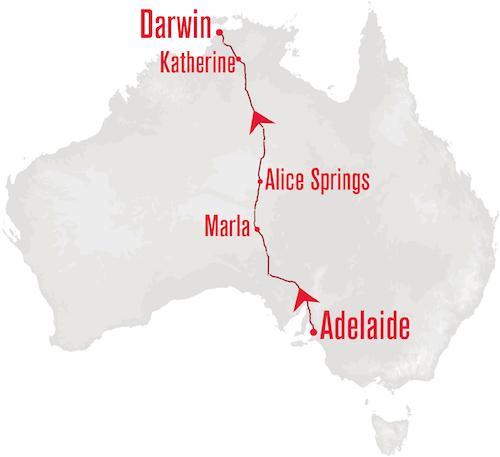 Ghan departing Adelaide