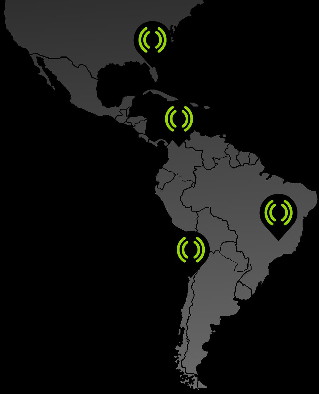 mapa de puntos de presencia oficinas Mediastream en Chile, Brasil, Colombia y Estados Unidos