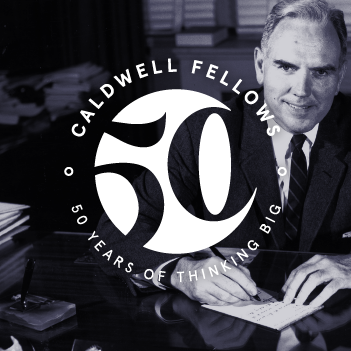 Logo on top of photo of John T Caldwell
