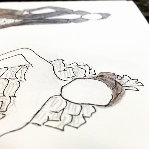 Sketch of paper dress.