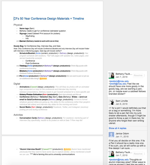 Google doc of conference planning.