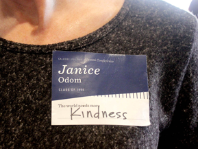"""Name tag that says """"The world needs more kindness"""""""