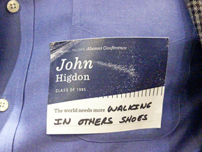 """Name tag that says """"The world needs more walking in others shoes"""""""