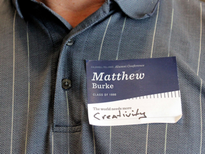 """Name tag that says """"The world needs more creativity"""""""