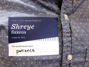 """Name tag that says """"The world needs more patience"""""""