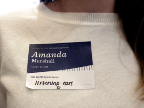 """Name tag that says """"The world needs more listening ears"""""""