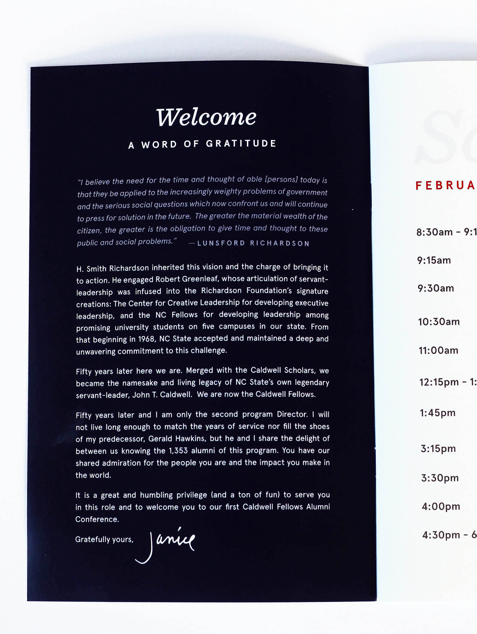 Welcome letter in conference booklet.