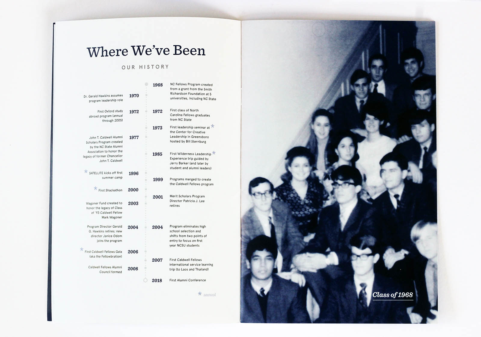 History page of conference booklet that shoes a timeline and image of first class sitting on the stairs in 1968..