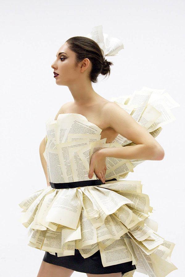 model wearing paper dress.