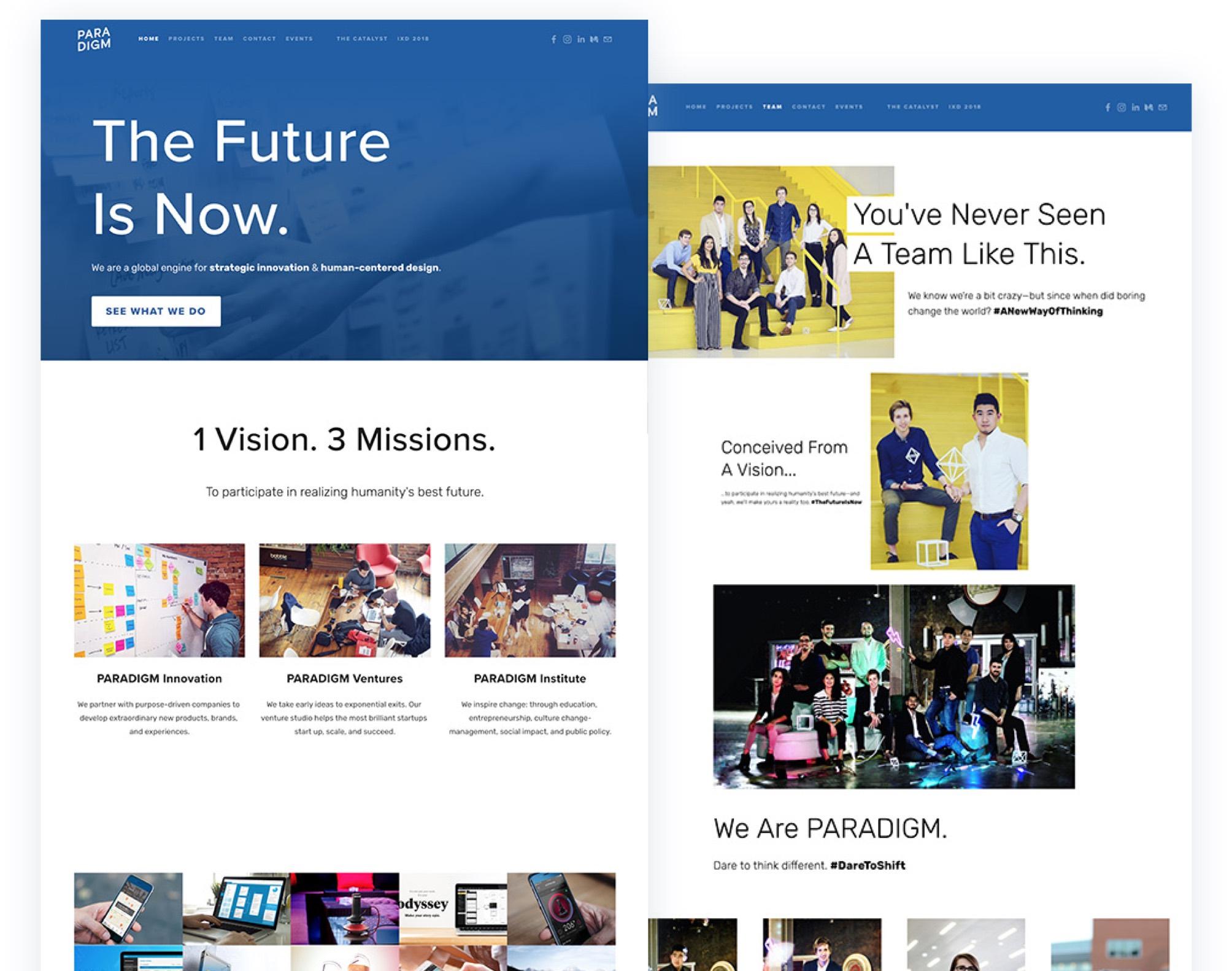 Paradigm's original website design: cluttered and basic.