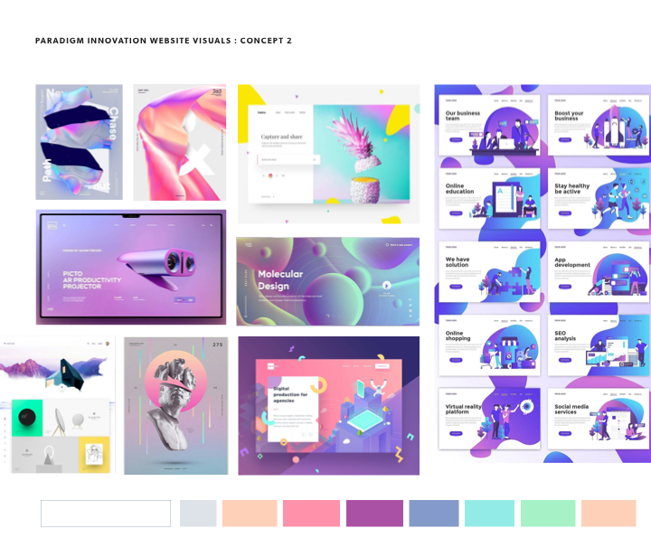 Mood board option of gradients and illustrations, light mode.