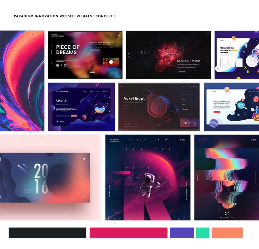 Mood board of space and gradients, dark mode.