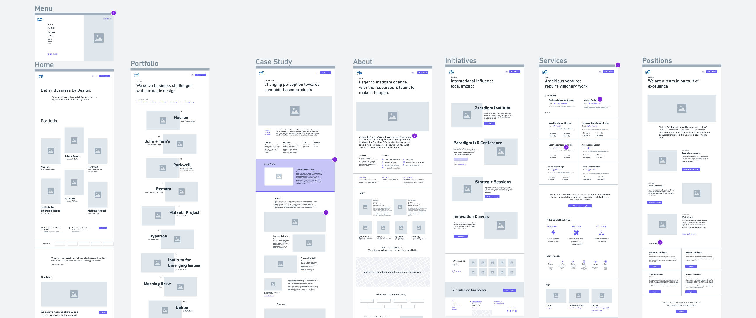 Wireframes of the whole website.