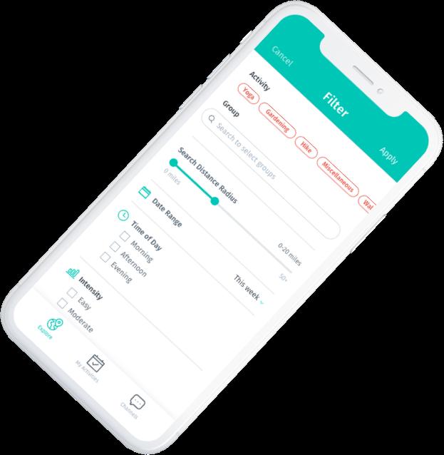 Screenshot of BeSpree app filter activities view.