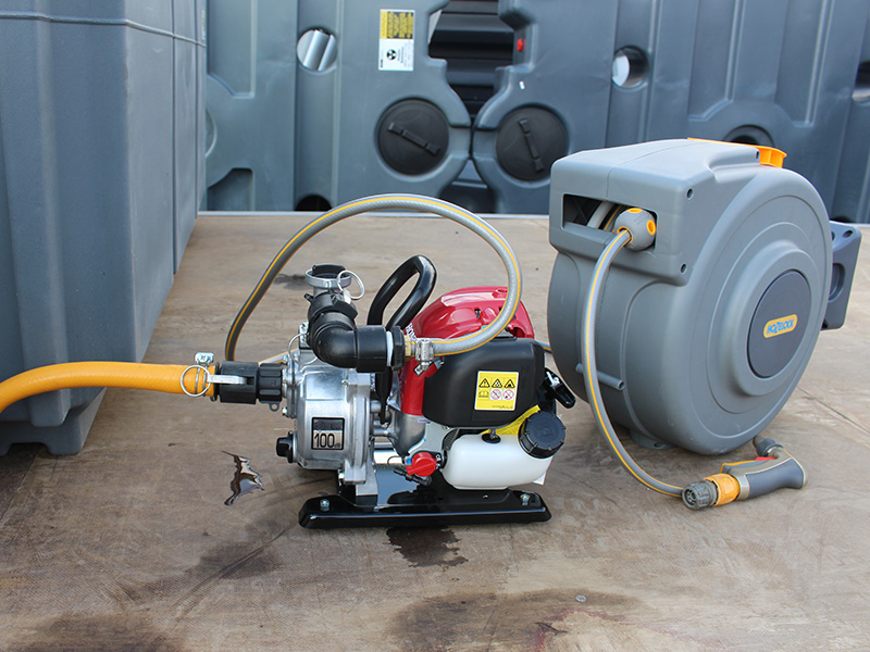 """MTT coupled to 1"""" pump and reel"""