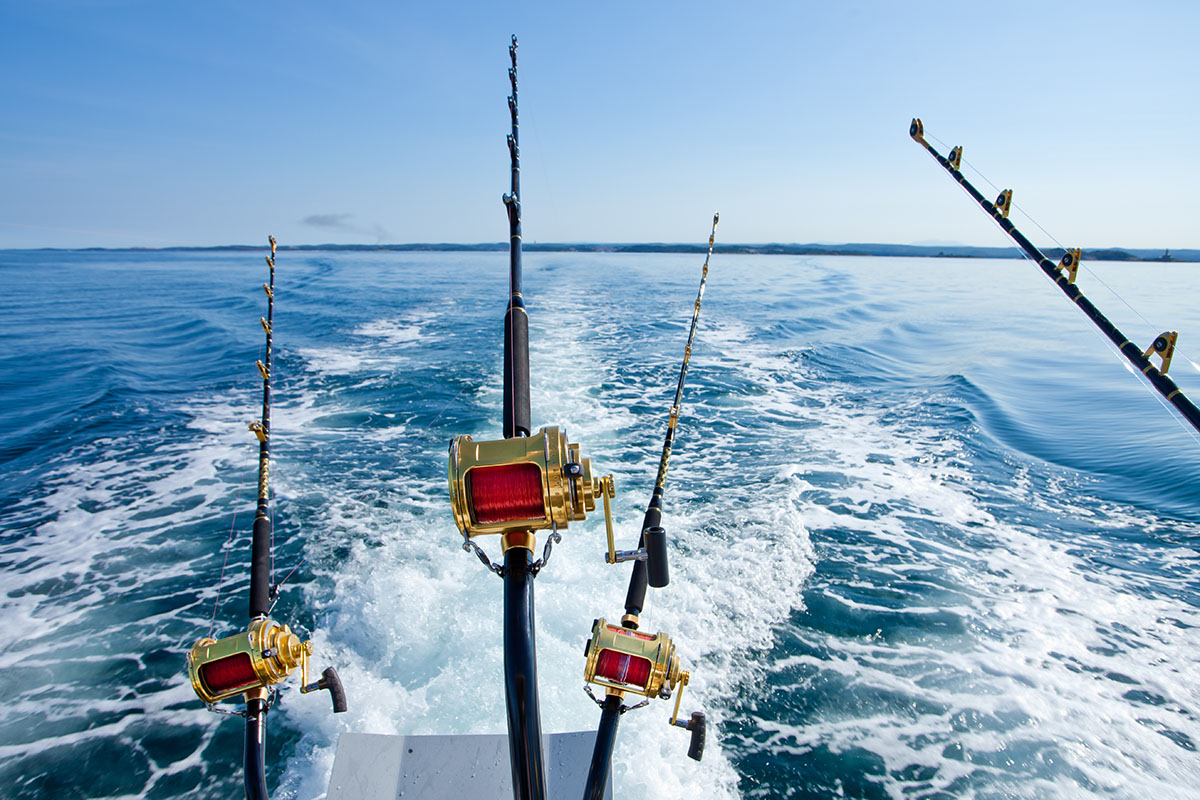 Deepsea fishing boat with fishing rods