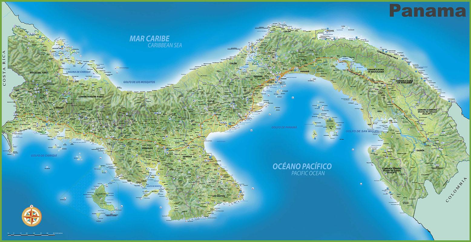 Detailed map of Panama