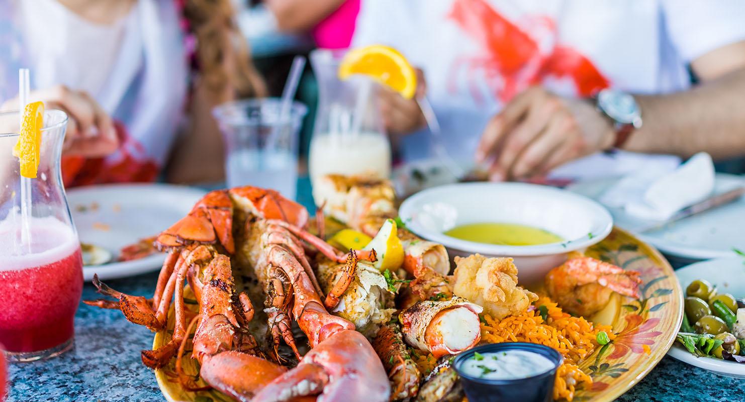 Seafood served on a plate