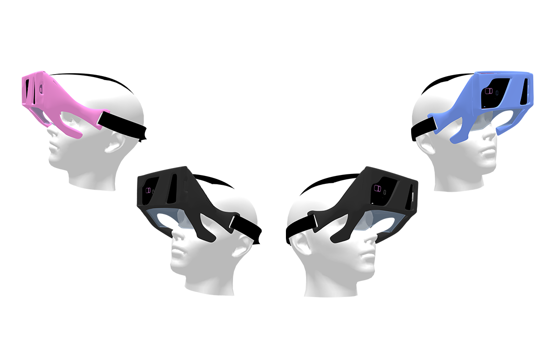 An exploded view of the Aryzon augmented reality headset