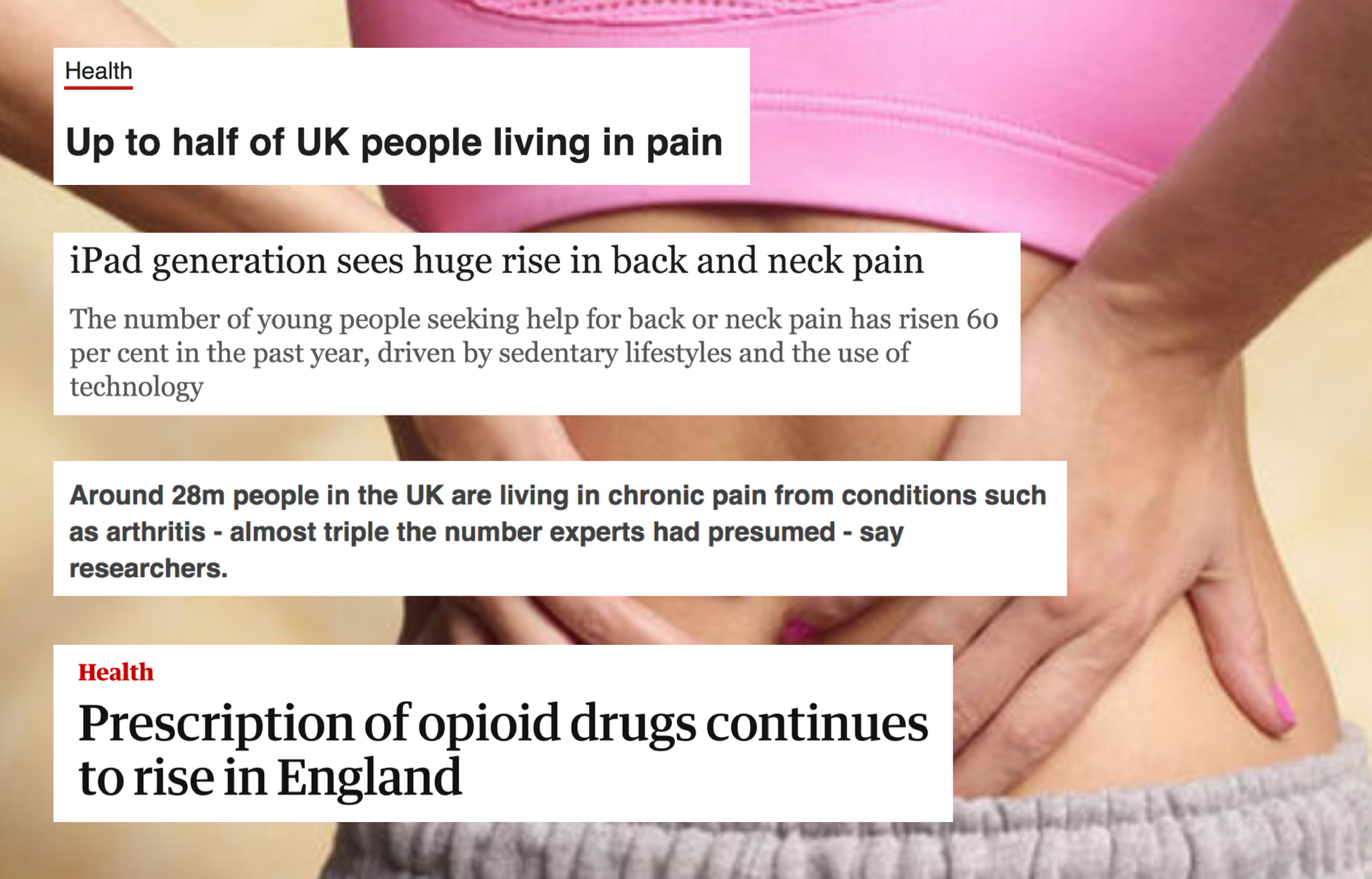 Montage of UK press headlines about pain epidemic sweeping nation
