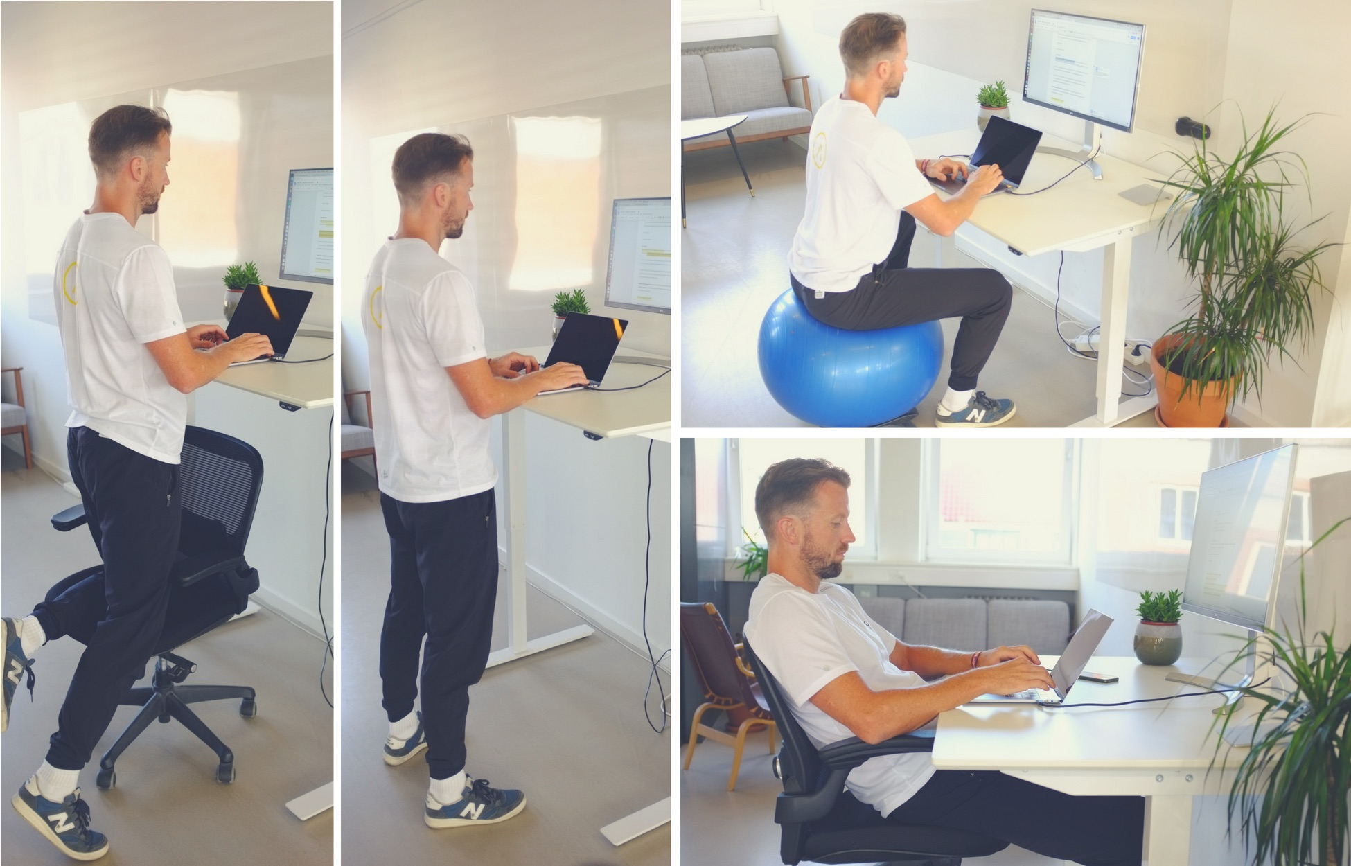 montage of posture positions while at your desk
