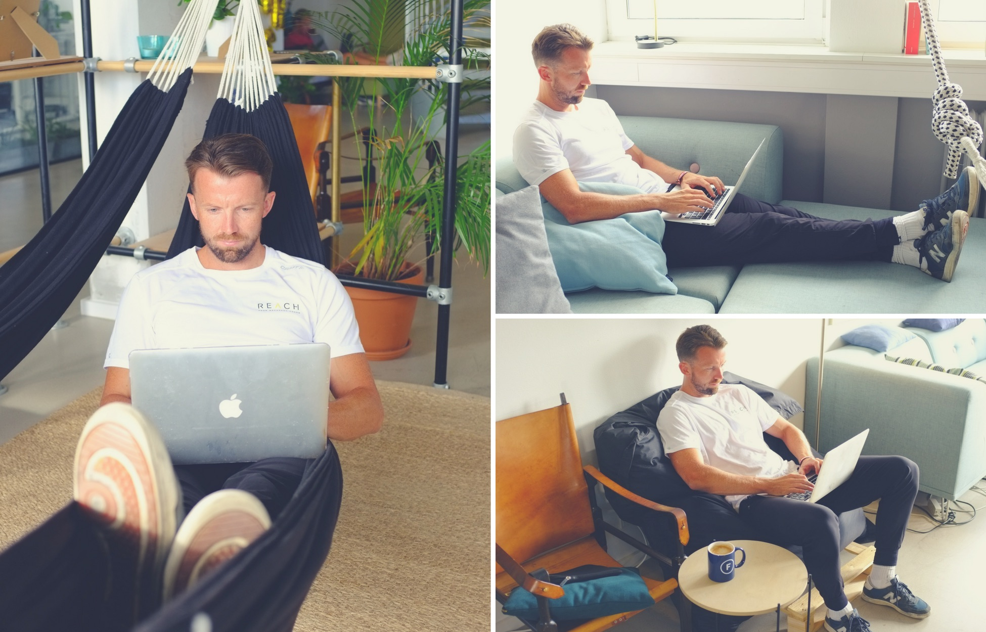 montage of alternative posture positions at work