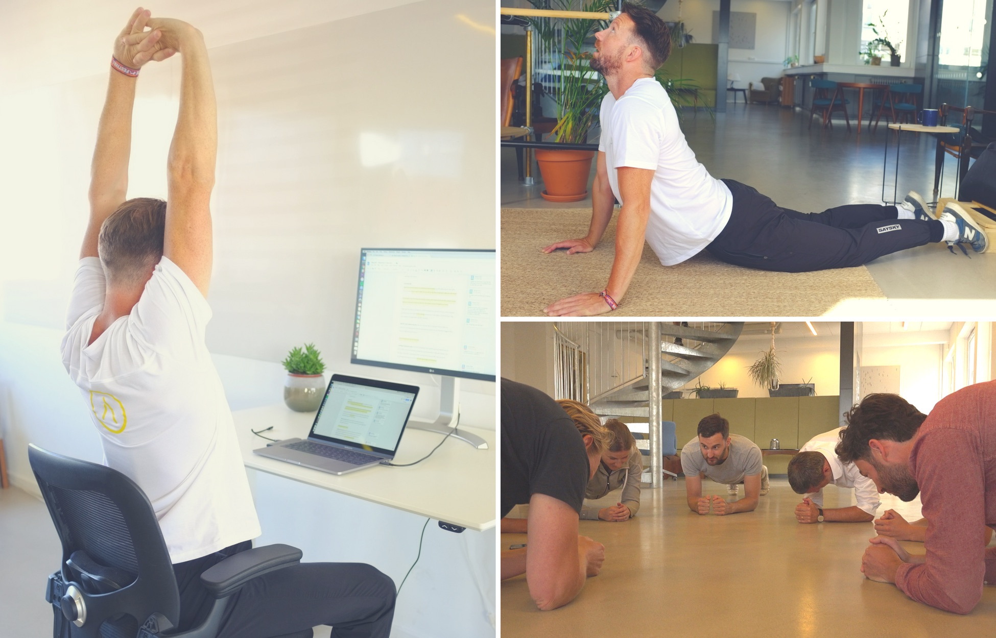 montage of easy stretches and exercises to do at work