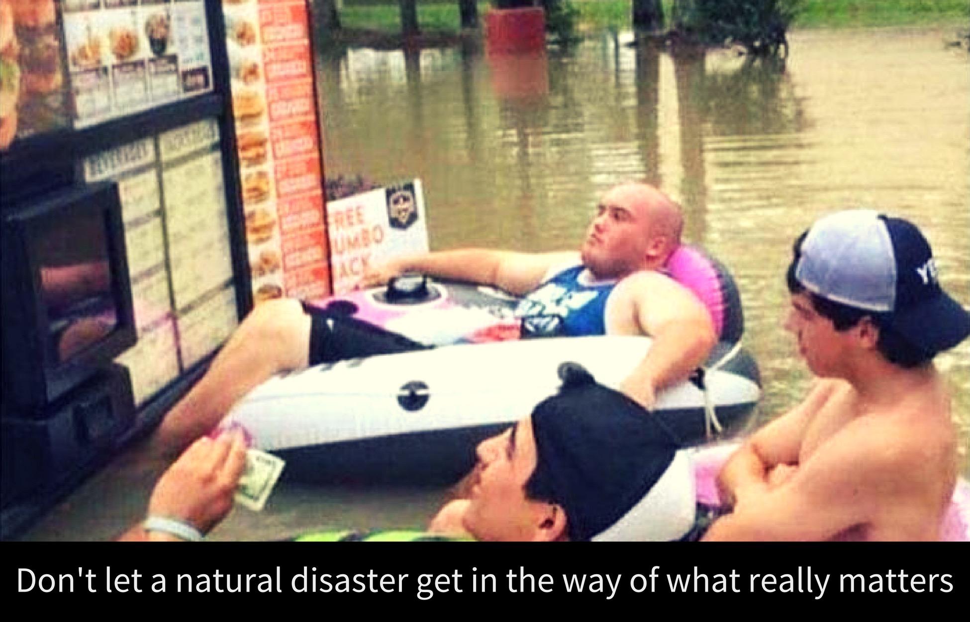 Meme of men prioritising fast food during natural disaster
