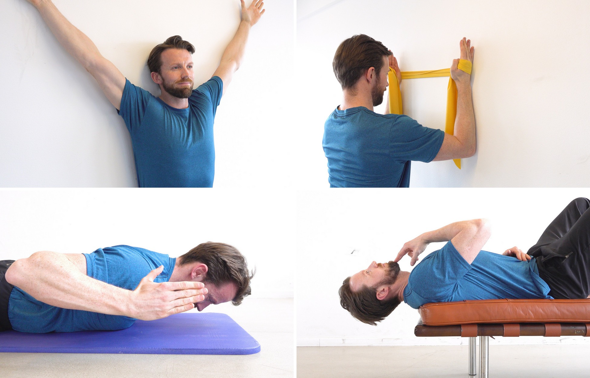 Montage of four basic exercises for neck pain