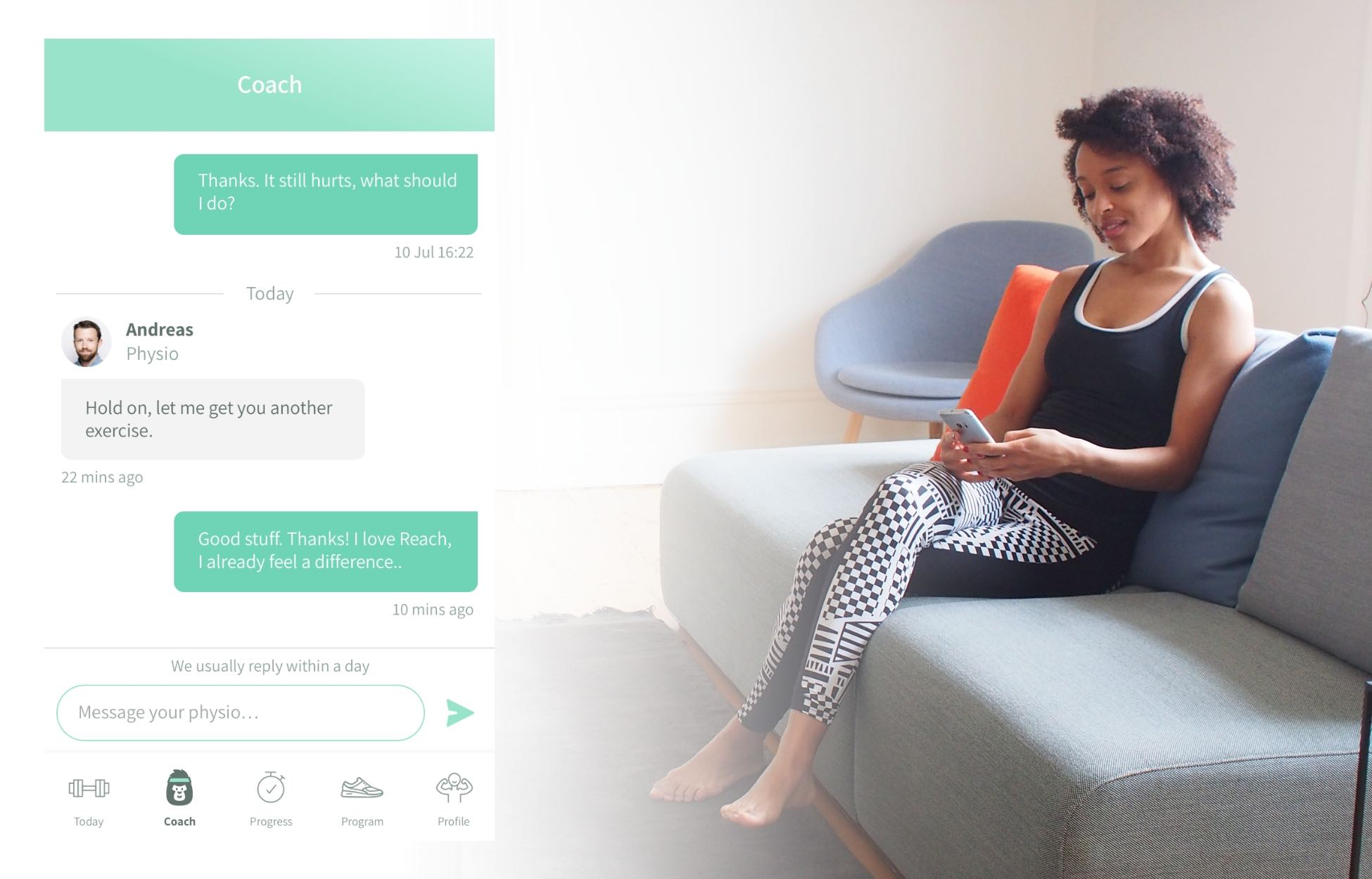Woman on sofa using chat feature on Reach Physio App with example interaction