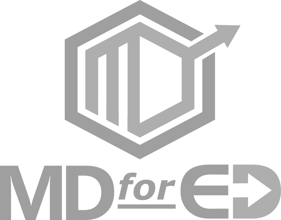 MD4ED Down Arrow White Logo Design in The Woodlands