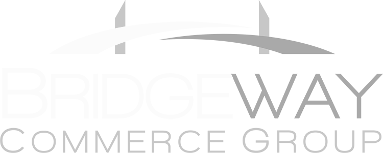 Bridgeway Down Arrow White Logo Design in The Woodlands