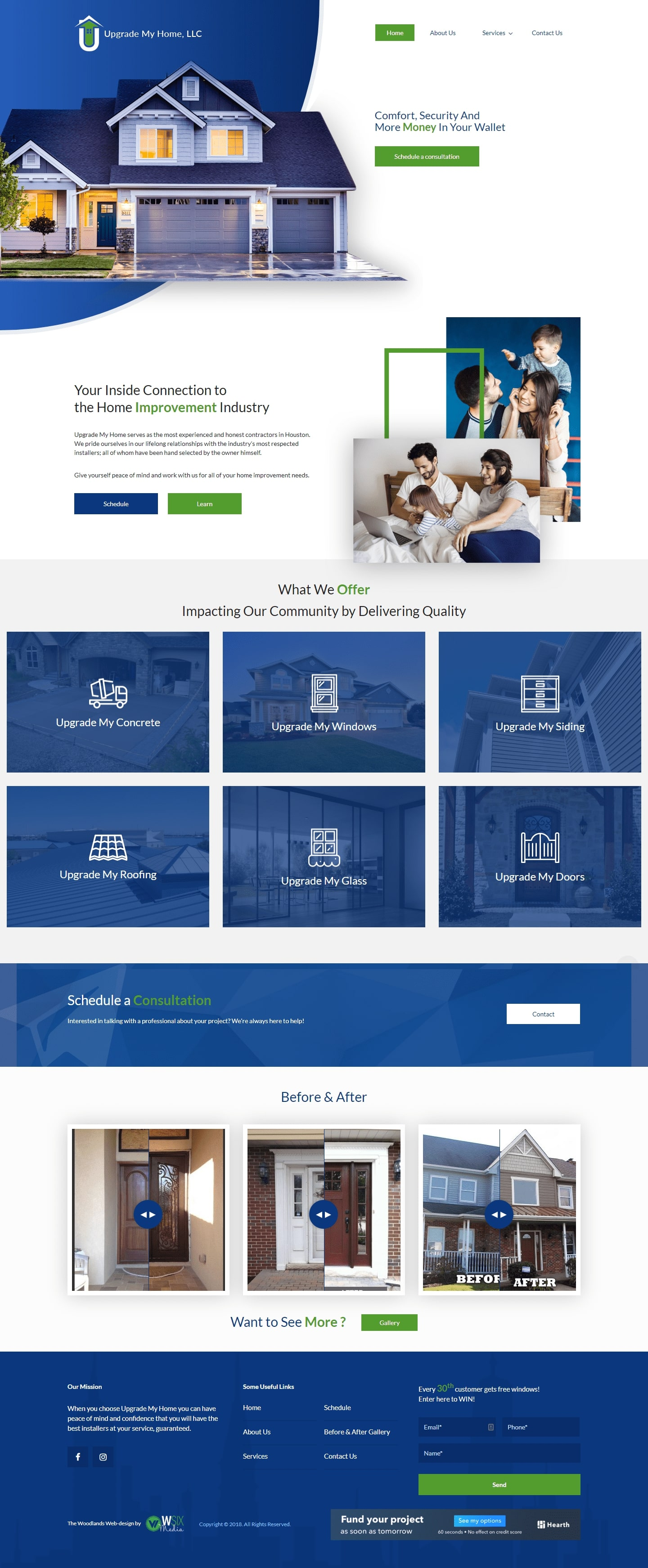 Upgrade My Home The Woodlands Web Design Page