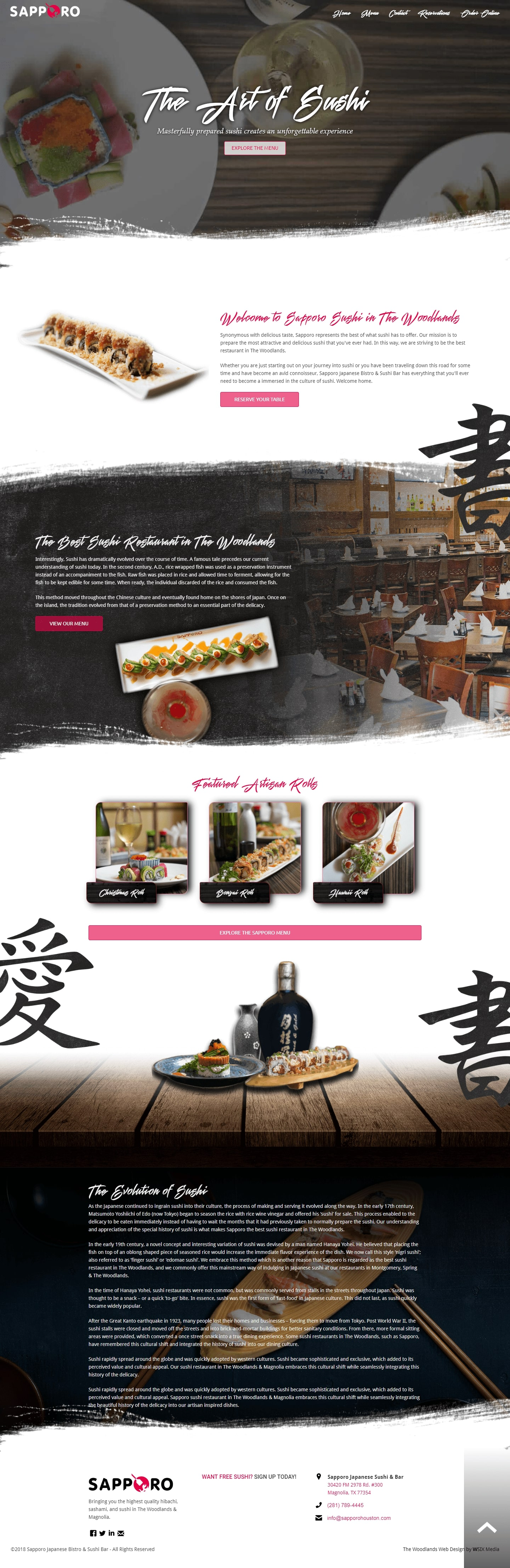 Sapporo The Woodlands Web Design Page