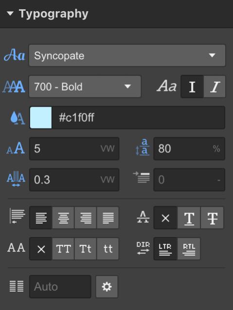 Typography panel custom web design Houston