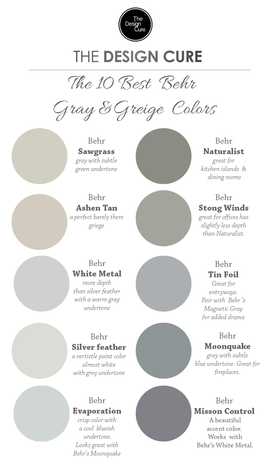 A Round Up List Of The 10 Best Gray And Greige Colors By Behr
