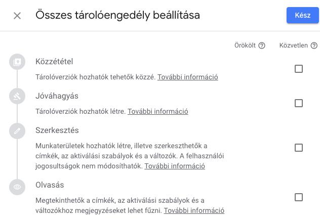 Tárolóengedélyek a Google Tag Managerben