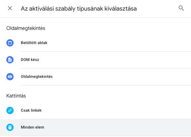 Aktiválási szabály kiválasztása Google Tag Managerben
