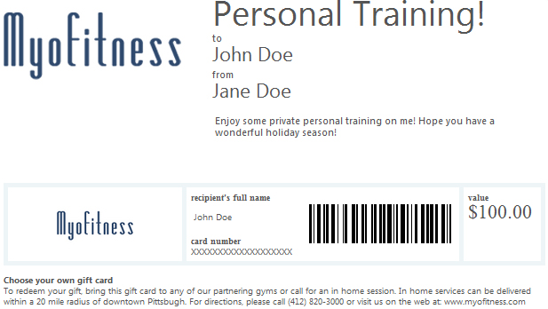 gift card personal fitness online training in pittsburgh