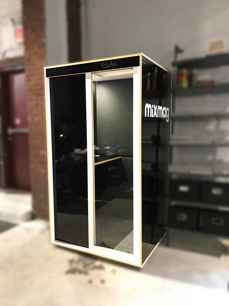Custom black privacy booth
